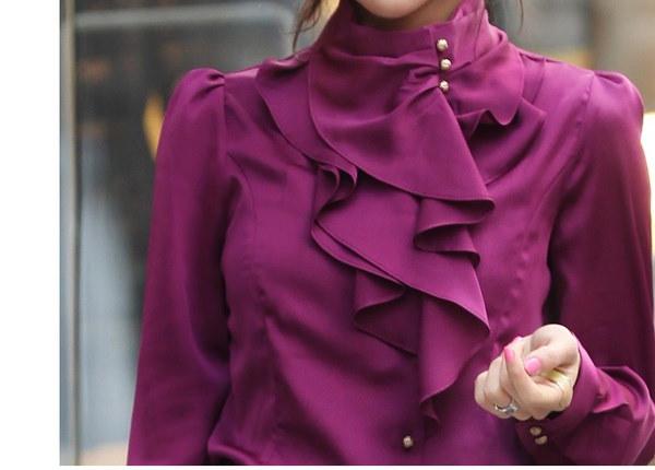 新しい秋の女性OLフォーマルフリルパフスリーブロイヤルサテンブラウス&シャツ女性ロングスリーブ