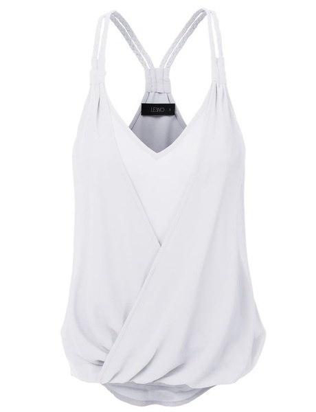 レディースファッションプラスサイズスパゲッティストラップディープVネックカジュアルセクシーピュアカラーシフォンタンクトップTシャツ