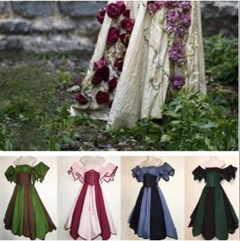 中世のコスチュームカジュアルロングファッションドレス女性セクシーなノースリーブの女性のドレス