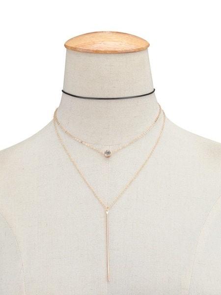 ファッションジュエリーネックレスシンプルな多層ワックスラインダイヤモンドメタルストリップタッセル鎖骨ネックレス(