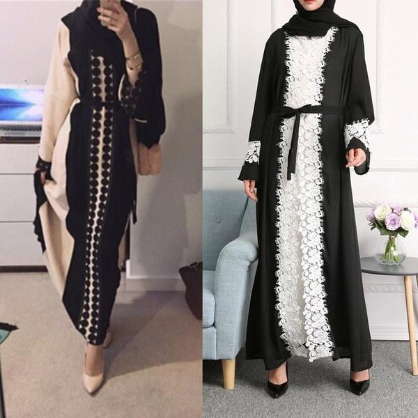 Dubia Style Lace Trim Black Abaya Jilbab Muslim Islamic Maxi Dress