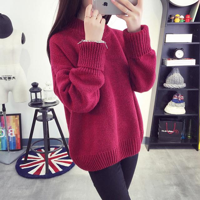 無地タートルネックセーター冬モデルを厚くしニットシャツチュニック