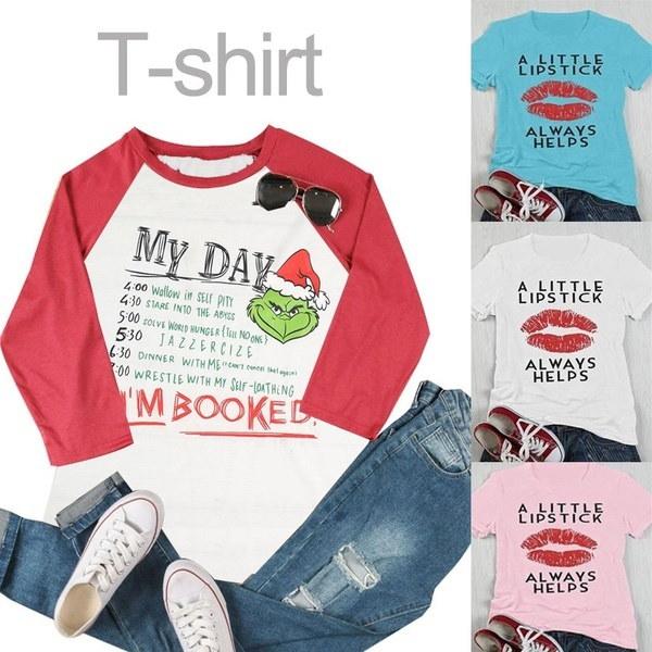 リップリップスティックは常にTシャツの女性を助けます夏の半袖Oネックカジュアルブラウスのトップス(サイズ