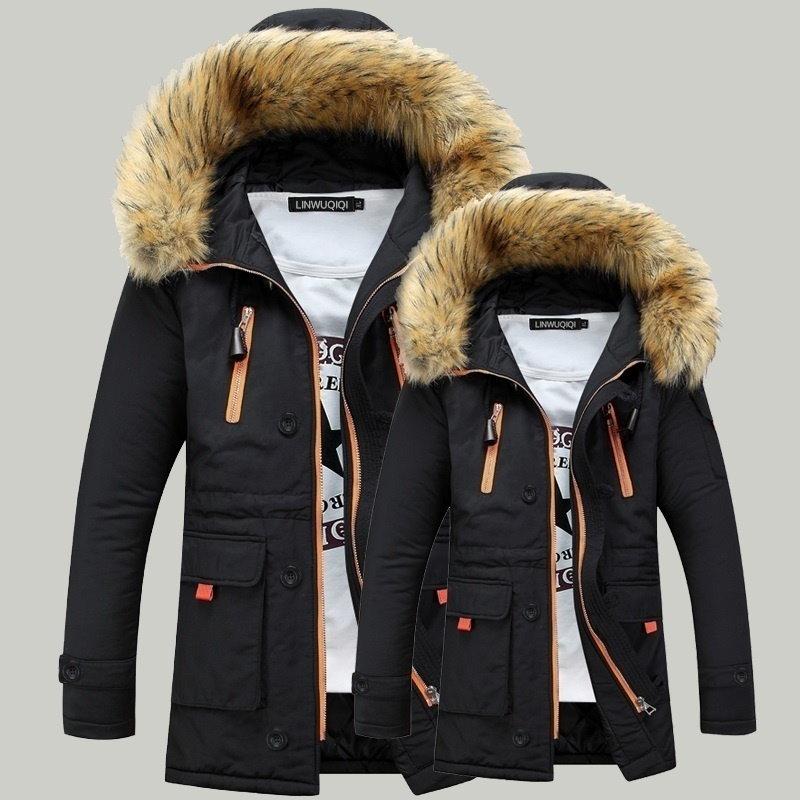 女性&男性の厚い毛皮の襟の冬のオーバーパーカージャケットコートを暖かいダウン