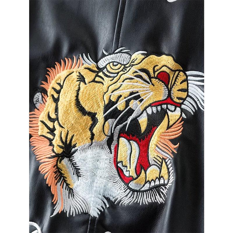 秋の女性タイガーの刺繍ジャケットストリート長袖ジッパーブラックフェイクレザージャケットCamperas MUJER Abrigo Xdwm677
