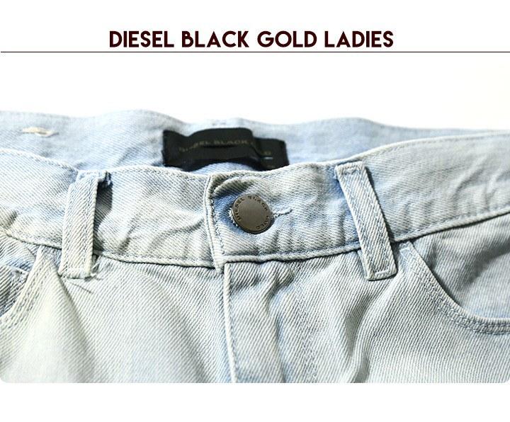 ディーゼルブラックゴールド DIESEL BLACK GOLD ジーンズ デニム パンツ レディース 牛革 レザー ロゴパッチ ホワイトテープ ツイスト ウォッシュ加工 ストレート PAPRYL-A