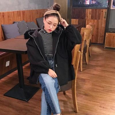 [55555SHOP]秋冬/新しいデザイン/女性服/韓国風/毛皮の襟/帽子付き/デュプレックス/ウールコート/学生/ランタンスリーブ/ウエスト/羊毛の/ジャケット