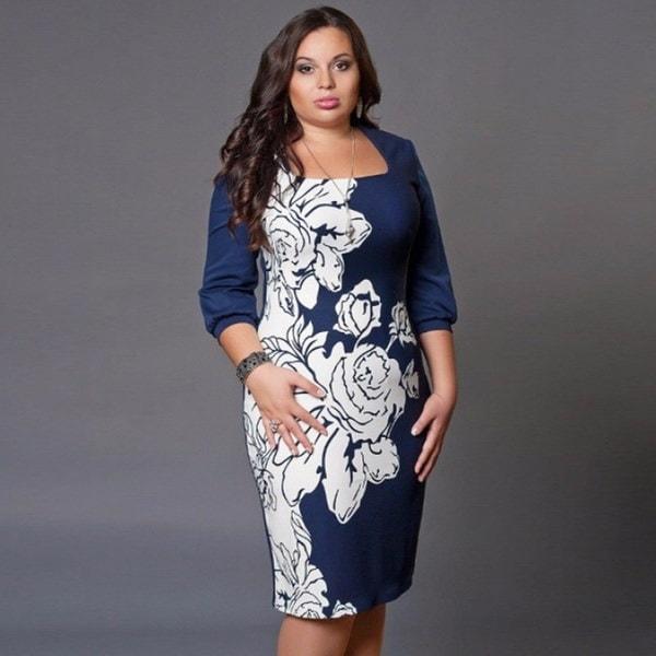 プラスサイズのドレス女性のファッション花のプリントドレス