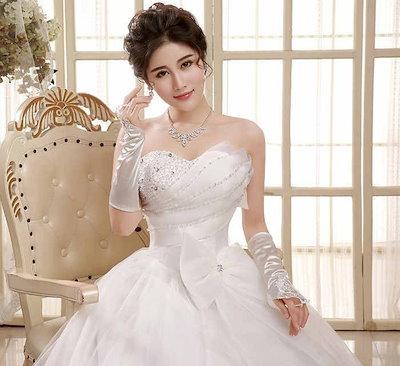 リボン ウェディングドレス 新作 水晶 ベアトップ ビスチェ 韓国風 バックレス スイート XCMS28