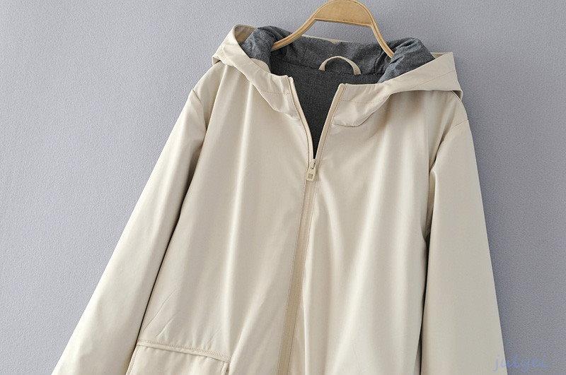 全2COLOR  レディース 上着フード付き  アウターコート 前開き 保温性  ロングコート ロング袖 秋冬 シンプル//アプリコット、ライトブルー