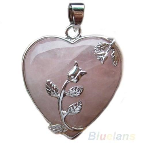 ファッションは、クォーツの合金の花のネックレスのペンダントハート象眼細工チャームジュエリーをローズ