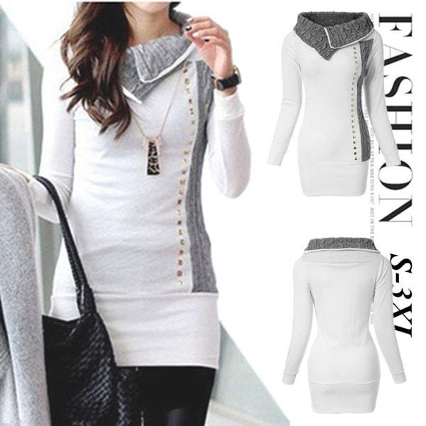 プラスサイズレディーススリムフィットホワイトコートジャンパー女性ロングスリーブパーカセーターコートS-XXXL