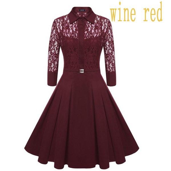 2017ファッション女性のヴィンテージ1950年代スタイルの3/4袖ブラックレースフレアAラインのドレスのサイズXS  -  2XL