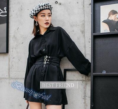 ロングシャツ レディースシャツワンピース ブラック 長袖 オリジナル レトロ