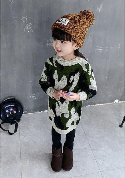 ガールズドレス新しい韓国の秋冬ベビーセータースカートロング肥厚