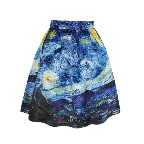 夏のファッション膝のスカートの上にカジュアルなスカートハイウエストのゴッホの星空の夜のプリントスカートのための