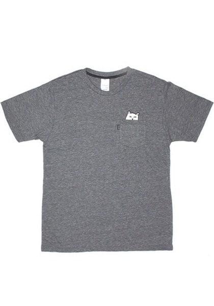 灰色のプレーンキャットアップリケポケットコットンTシャツ