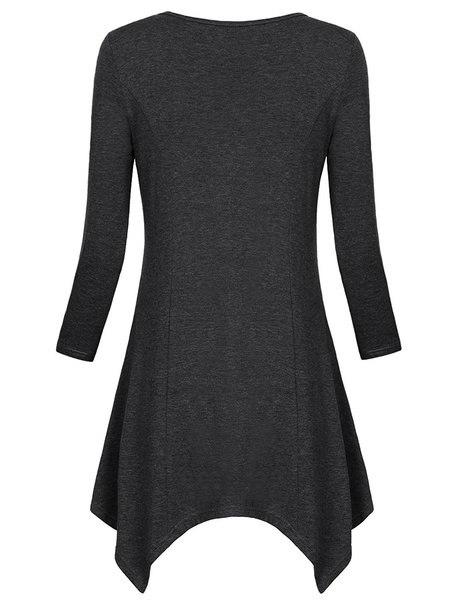 2017レディースファッションVネック非対称裾長袖チュニックトップポケット付き