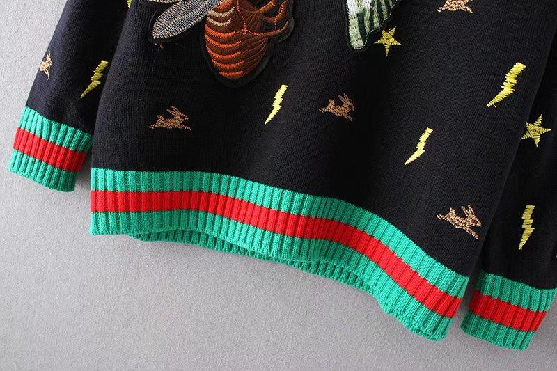 秋冬新品 ハード刺繡ニット プルオーバー   伸縮 秋 冬 着やせ ゆるニット ゆったり  トップス レディース   体型カバー 柔らか