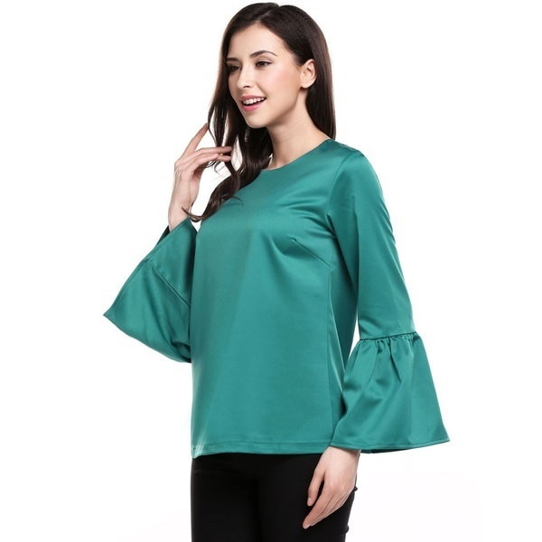 (EU Seller) Women Casual Flare Sleeve O Neck Back Zipper Solid Blouse Tops