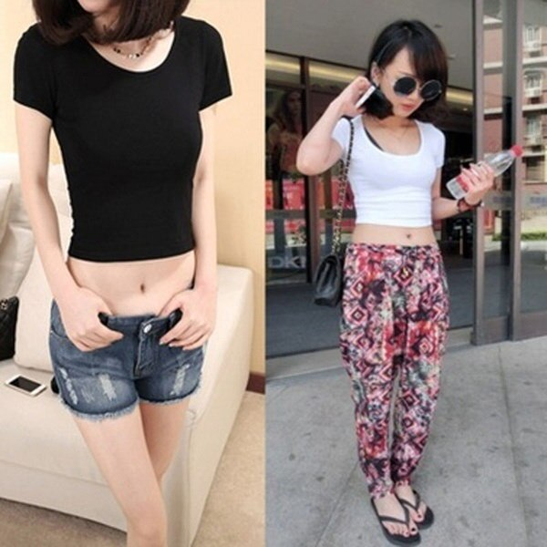 Hot Popular Women Girls Half Waist Short T-shirt Sexy Basic Bottoming Shirt Crop Tops All-match Lo S