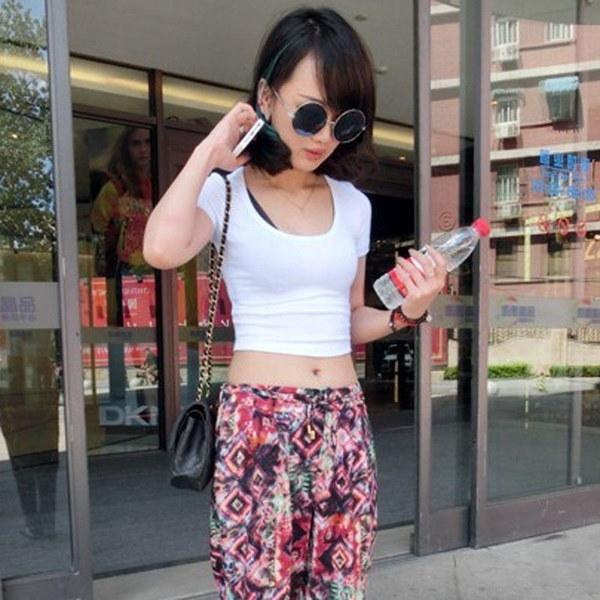 Hot Popular Women Girls Half Waist Short T-shirt Sexy Basic Bottoming Shirt Crop Tops All-match Lo S