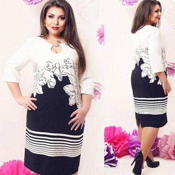 女性のファッションアシンメトリーカラープリントドレス