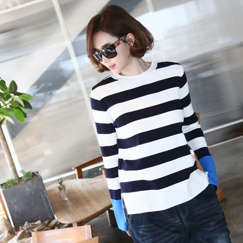 [zoozoom] Coloring sleeve slit knit 3color / 25923