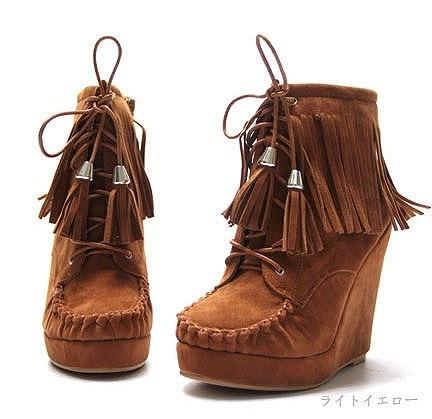 『大きいサイズあり』レディース靴  ブーツ ショートブーツ 靴 くつ シューズ ウエスタンブーツ フリンジ ウェッジソール 注目 ヒール12cm  疲れにくい 定番アイテム スエード 美脚 マストアイテム 秋冬