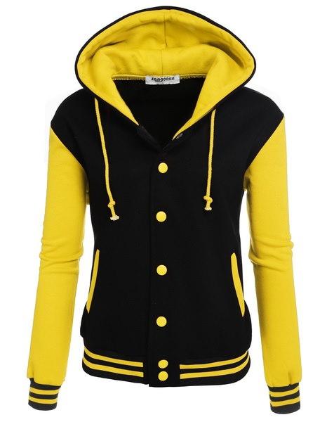 Zeagoo女性の冬のファッション長袖パッチワーク野球フード付きフリース付きジャケット