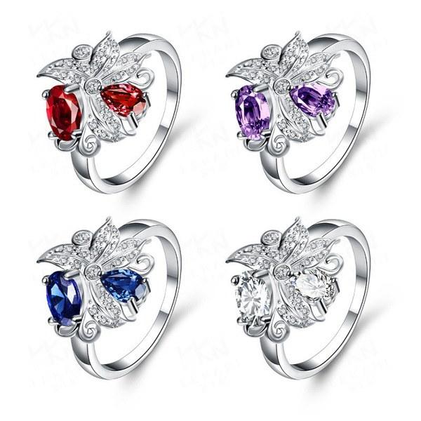 ヨーロッパとアメリカ925シルバーメッキダイヤモンドリング