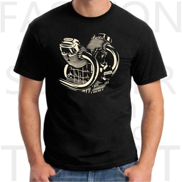Moto Guzzi Engineブラックオートバイティーシャツメンズラウンドネック半袖コットンTシャツ