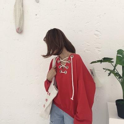 韓国ファッション 春 韓国 ショート 肌見せ クロスデザイン ゆったり 紐デザイン