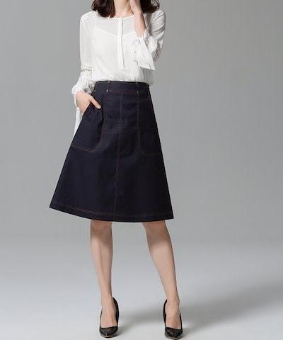 台形スカート ひざ丈 無地 Aライン カジュアル ハイウエスト 旅行 デート シンプル お出かけ 大人可愛い 大きいサイズ