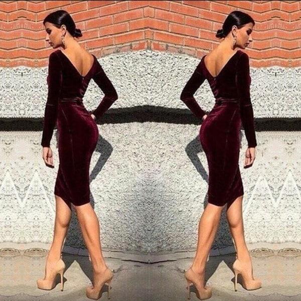 セクシーなカクテルパーティードレス春の女性長袖の膝丈ドレスボディコンバックレスベルベットドレス