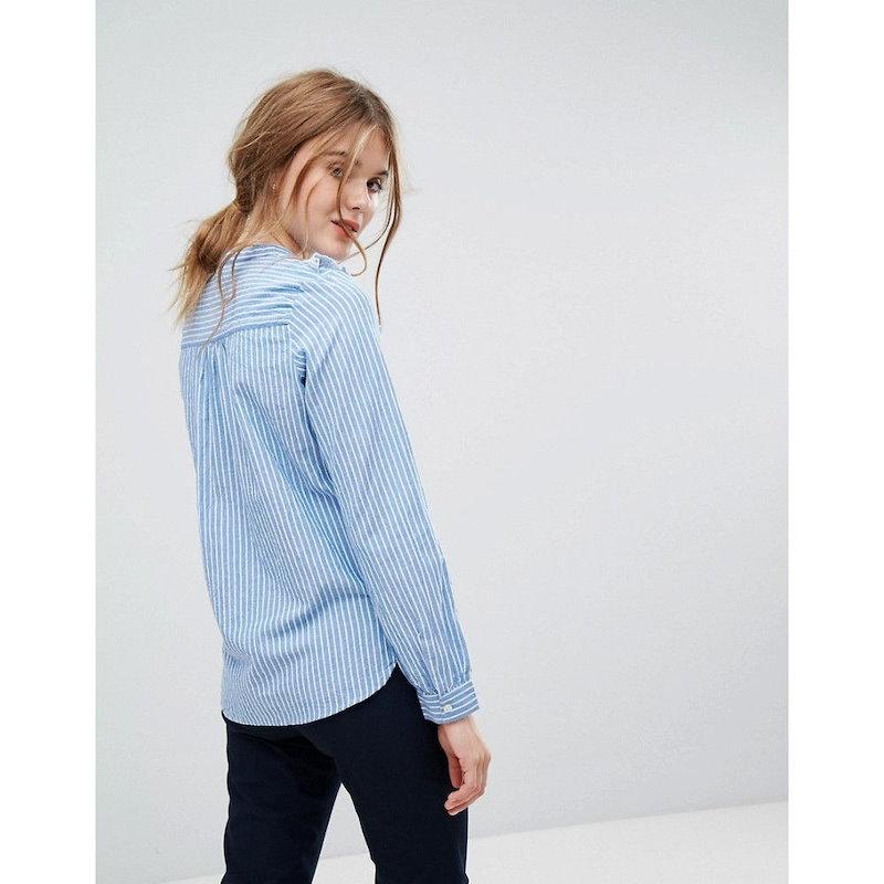 レオンアンドハーパー レディース トップス ブラウス・シャツ【Leon and Harper Striped Shirt with Ruffle Bib】Bleu
