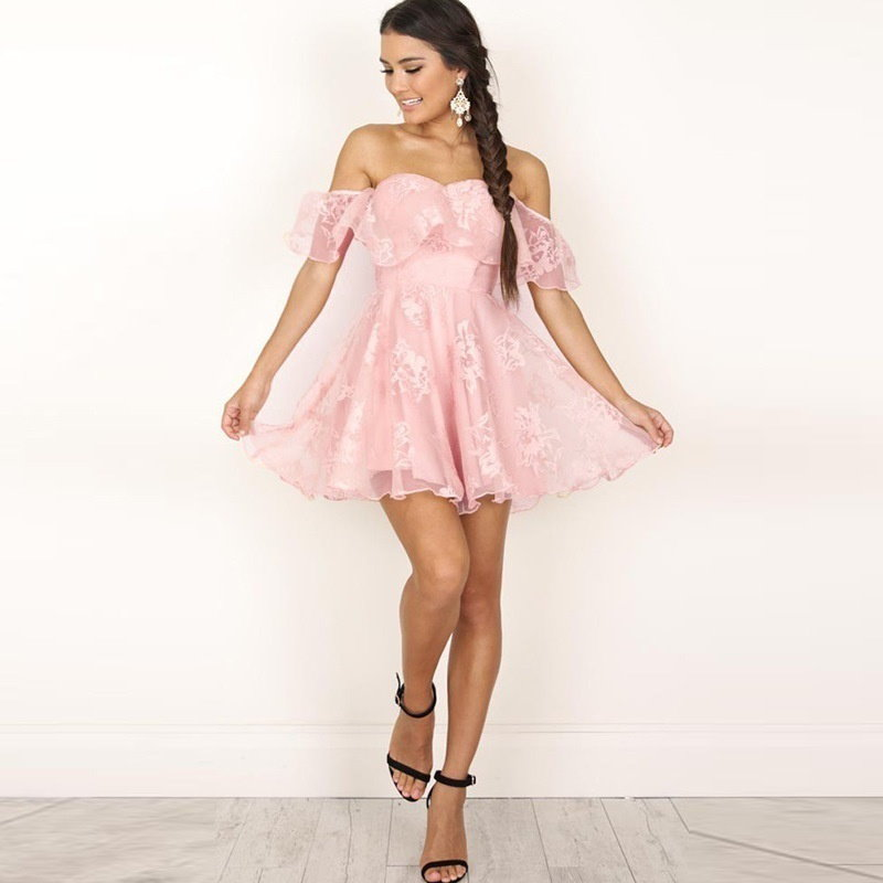 2017 Off Shoulder Flower Mesh Summer Dress Women Elegant High Waist Backless Mini Dress Fashion Stra