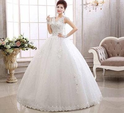 ウェディングドレス 花嫁礼服 ノースリーブ 韓国系 水晶 レース プリンセス系 スイート XCMS25