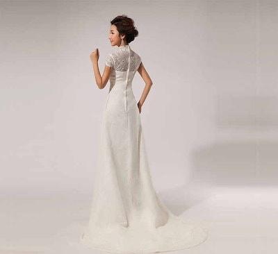 マーメイドトレーントレーン 花嫁 礼服 レディース レース 簡約系 ウェディングドレス イブニングドレス XCYW08