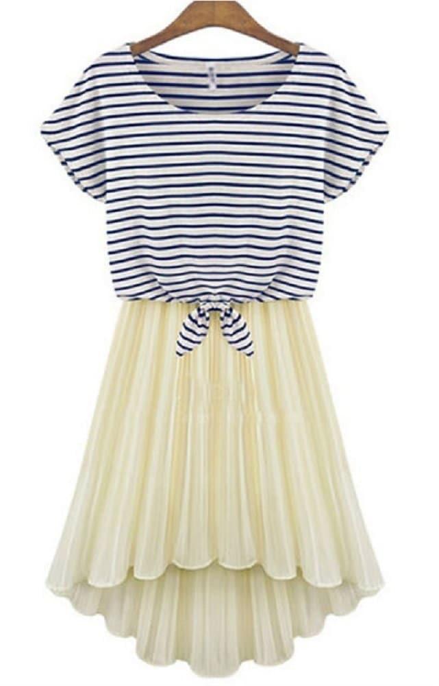 [大きいサイズ]ボーダー シフォンプリーツスカート セットワンピ ふんわり羽織れる ボートネック 体系カバー 日本未入荷 送料無料! ※納期に10日から14日ほどかかります。