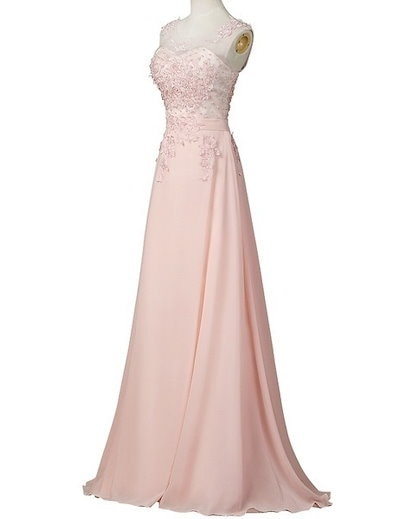See-Through Top Sleeveless Bridesmaid Wedding Party Evening Prom Gown