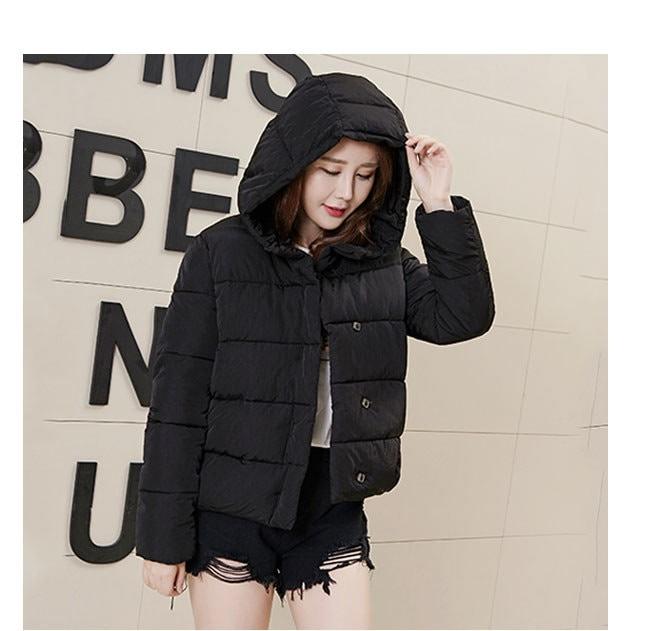 レディース服 女性 大人 冬服 コート アウター ダウンコート ダウンジャケット 厚手 ショート丈 無地 帽子付き ゆったり オーバーサイズ