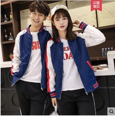 カップルは、秋の新しい韓国のヒットカラー野生のコートの女性の長袖の野球ユニフォーム学生服をインストール