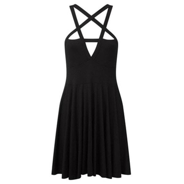 ファッション女性セクシーな5つ星のスター織りノースリーブドレスゴシックヴィンテージロマンチックなカジュアルドレス