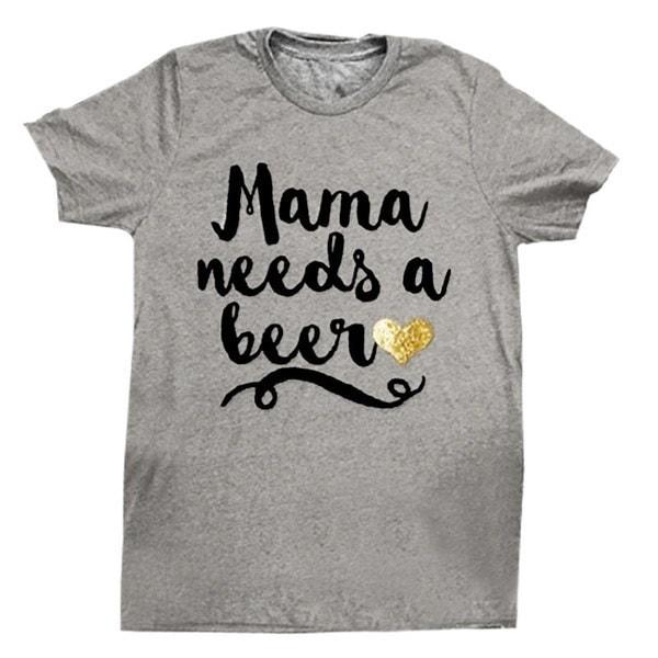 ゴージャスなママにはビールが必要ゴールデンハートプリントティー半袖TシャツOネックカジュアルトップS-3XL