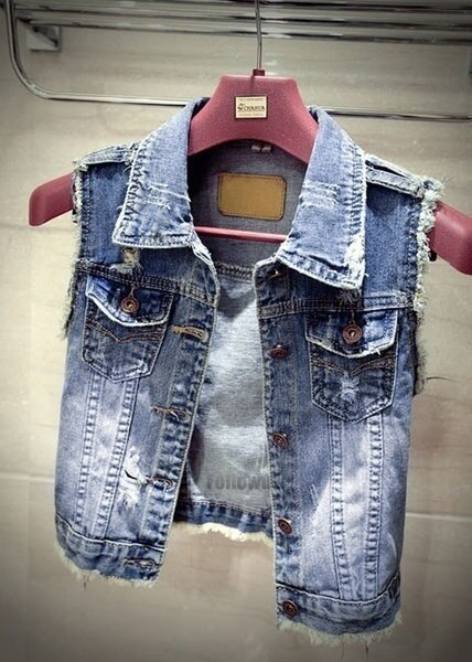 New Women s Fashion Vintage Casual Jeans Vest Short Denim Waistcoat Outerwear