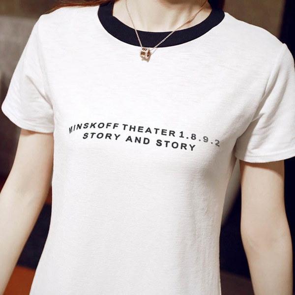 送料無料ワンピース ロングTシャツ 英文字飾り プリント レディース シンプル プルオーバー クルーネック 半袖 大きいサイズ 夏 インナー