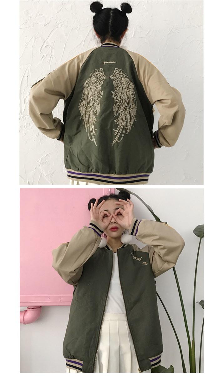 ★2COLOR★ジップアップバイカラーウイング刺繍スカジャン★ジャケット ブルゾン MA1 カジュアル ロゴプリント レディース メンズライク マニッシュ スタジャン ゆったり ジップアップ エムエー