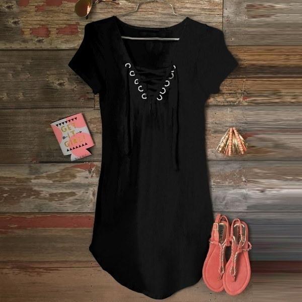 女性ファッションセクシーなフロントクロスバンデージ半袖Tシャツ