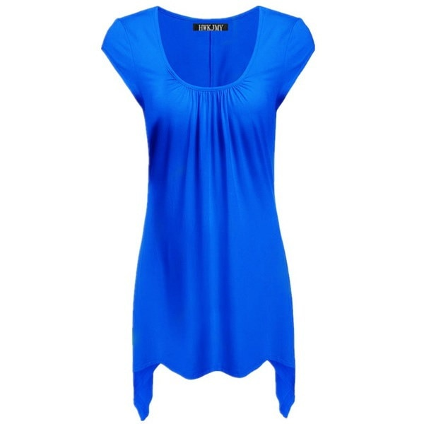 レディースファッションコットンOネック半袖ソリッドカラールーズプリーツTシャツトップスプラスサイズS-5XL